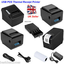 58mm/80mm USB POS Thermal Dot Receipt Bill Printer High Speed with Paper Roll UK
