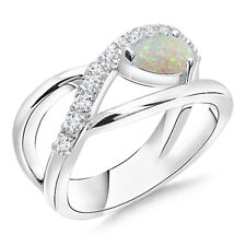 Pear Shape Natural Opal Engagement Ring with Diamond Accents 14k Solid Gold