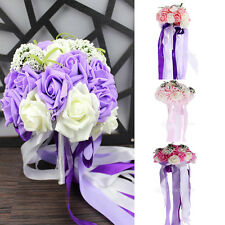 Roses Bouquet Foam Artificial Flowers Hydrangea Fake Seeds Wedding Bridal Party