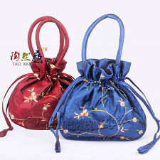 Lot Handmade Embroider Flower Handbags Silk Satin Jewelry Bags Pouches