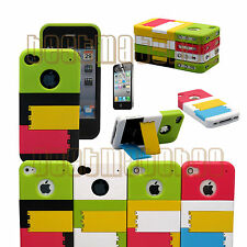 for iphone 4 4g 4s phone case cover hard slid in w/ kick stand +screen film