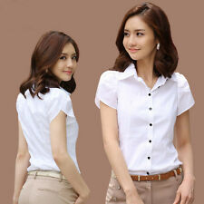 Fashion Women's Casual Short Sleeves Shirts Lady Slim Tops Blouse Office Wear