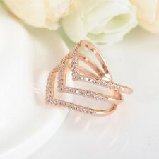 New Fashion Rose Gold Color Three V Shape Ring for Women