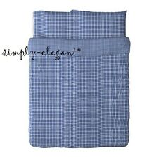 Ikea Full Queen DUVET Quilt Cover Set 3 pc Buttons Blue Check ALVINE RUTOR Plaid