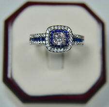 White Gold Plated Princess Cushion Cut Engagement Ring Sapphire Blue CZ Halo