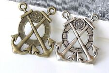 Double Anchor Life Ring Charm Pendants Antique Bronze/Silver Set of 5