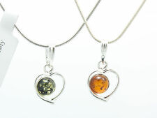NATURAL BALTIC AMBER STERLING SILVER 925 PENDANT Heart NECKLACE Certified + Box