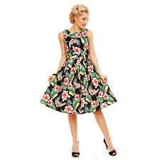 Dolly And Dotty - Annie Retro Orchid Floral Swing Dress in Black. Vintage Dress
