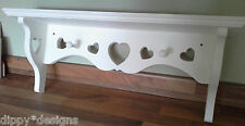 Craftsman hand made shabby chic MDF shelf 5 + 2 hearts and 2 shaker pegs