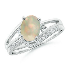 1 ctw Oval Opal and Diamond Engagement Wedding Ring Band Set 14k White Gold