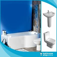 P Shaped Bathroom Suite Right/Left Hand 1700 Bath BTW Toilet WC Ceramic Basin