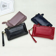 Women Wallet Genuine Leather Clutch Famale Coin Purse Double Zipper Wallet Long