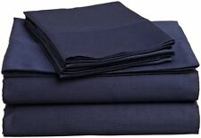 1200 TC Soft Egyptian Cotton Complete Bedding Items All UK Size Navy Blue Solid