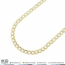 5mm Wide Diamond Cut Cuban Curb Link Chain Necklace 10K Yellow Gold 18-26""