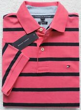 NWT Tommy Hilfiger Men's Short Sleeve Striped Polo, Pink, Size: M