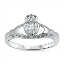 925 Sterling Silver Irish Celtic Claddagh Ring Clear CZ Sz 4-10 Love Promise