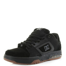 Mens DC Rival Black Leather Gum Skate Trainers Shoes Shu Size