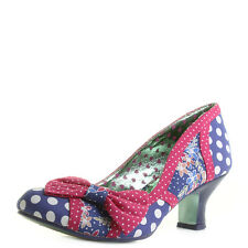 Womens Poetic Licence Shake It Blue Red Polka Dot Low Kitten Heel Shoes Shu Size