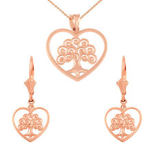 14k Rose Gold Tree of Life Open Heart Filigree Necklace & Matching Earring Set