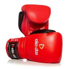 Elevate Muay Thai 2 Tone Leather Boxing Gloves - Red & Black