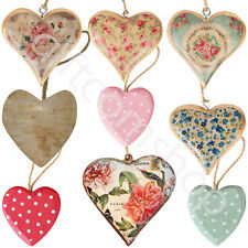 Sass and Belle Shabby Chic Wooden Heart Hanging Hearts Vintage Home Decoration