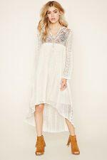 Forever 21 Ivory Boho Me Lace Embroidery Dress Small S