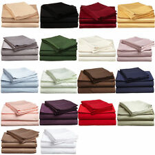 New 1200 TC  Egyptian Cotton Complete Bedding Items UK Double All Solid Color