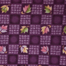 Quilt Fabric Calico Purple Leaf Check by Fabric Traditions: FQ or Cut-to-Order