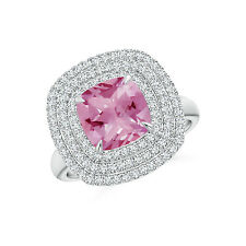 Diamond Triple Halo Cushion Cut Pink Tourmaline Cocktail Ring 14k Gold/ Platinum