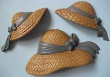 Set of 3 Vintage Burwood Straw Hat & Ribbon Wall Plaques Home Interior