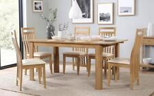 BALI Extending Oak Finish Dining Table and 4 6 Chairs Set (Ivory)