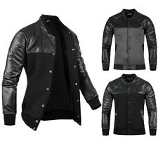 Fashion Casual PU Leather Men's Slim Fit Baseball Blazer Jackets Outerwear Coats