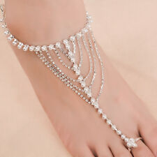 Gorgeous Bride Pearl crystal Chain bracelet Anklet With Toe Ring wedding Jewelry