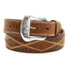 Nocona Western Mens Belt Leather Ostrich Diamond Patchwork Brown N2410944