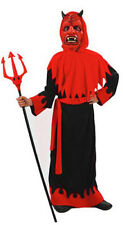 Boys Red Devil Costume Robe & Mask Halloween Satan Demon Outfit New Ages 4-10