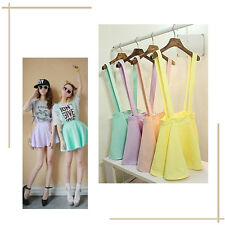 Womens 1X Women Skirt Candy Color Pleated Skirt Mini Skirt Suspender Summer