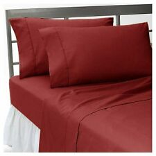 BURGUNDY SOLID ALL BEDDING COLLECTION 1000 TC 100%EGYPTIAN COTTON KING SIZE