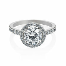 2 Tcw G SI1 Round Cut Halo Diamond Ring 14K White Gold Size 6 Engagement New