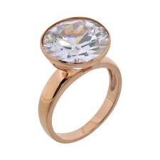 Rose Gold Plated Sterling Silver Round CZ Jewelry Women Wedding Engagement Ring