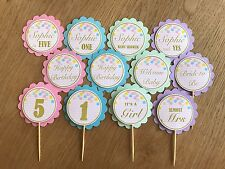 Pastel Confetti Personalised Cupcake Toppers~Birthdays,Baby Shower,Bridal Shower