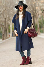 ZARA long navy wool handmade coat with belt sold out bloggers new size Medium M