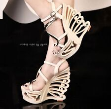 Womens Stylish High Heels Wedge Platform Peep Toe Ankle Strap Shoes Sandals Size