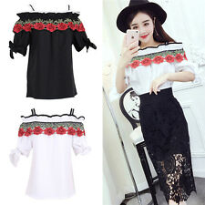 Sexy Lace Flower Embroidered off Shoulder Blouse Tops Black White Graceful Bow