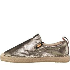 Superdry Womens Espadrilles Metalic Gold Crackle - NEW