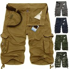 Summer Men Army Camouflage Work Cargo Baggy Pleated Shorts Slacks Pants Trousers