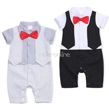 Toddler Baby Boy One-piece Bowtie Gentleman  Romper Jumpsuit Clothes Outfit New
