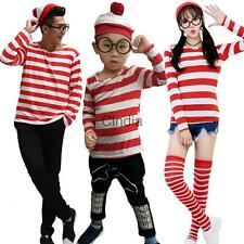 Adult Kids Family Red White Striped Long T-Shirt Glasses Book Week Fancy Dress