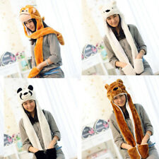 Plush Cartoon Animal Winter Hood Hat Beanie with Long Scarf Mittens Gloves Stock