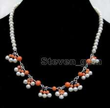 5-6mm White Round Natural Pearl & 3-5mm Pink Coral 8 pendants 17'' Necklace-6322