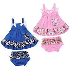 Infant Baby Girls Strappy Sleeveless Swing Top Ruffles Bloomer Pants Set Clothes